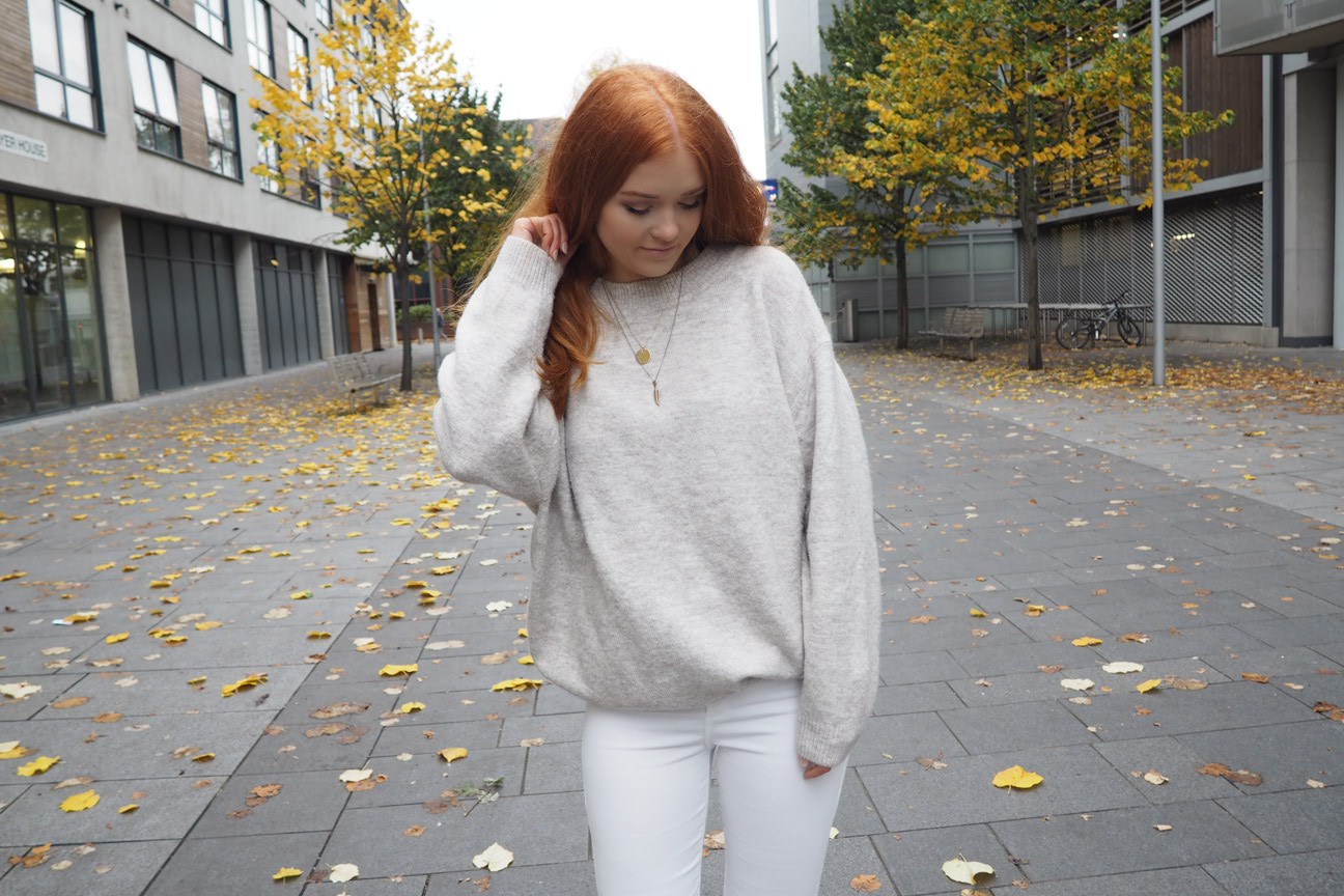 grey marl oversized zara knit jumper fashion outfit