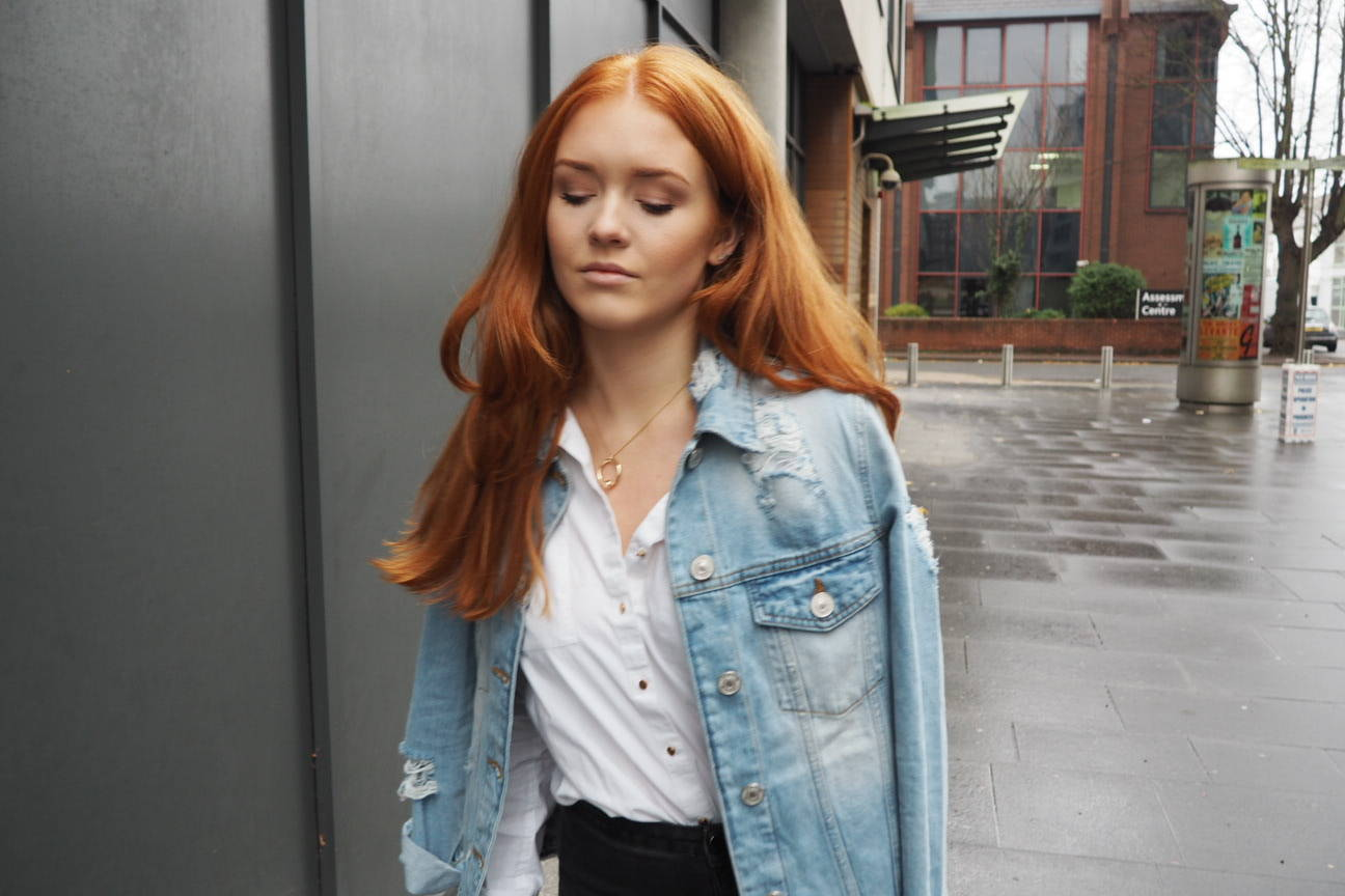 River island distressed denim jacket and oversized shirt fashion style smart casual