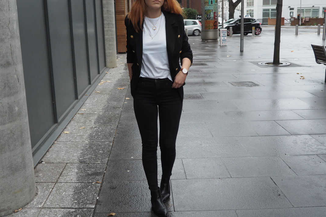 military missguided blazer and pointed flat ASOS boots outfit inspiration