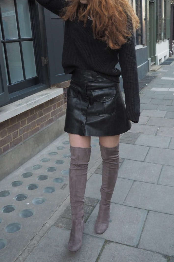 Zara grey masculine coat monochrome leather skirt river island over the knee otk grey boots