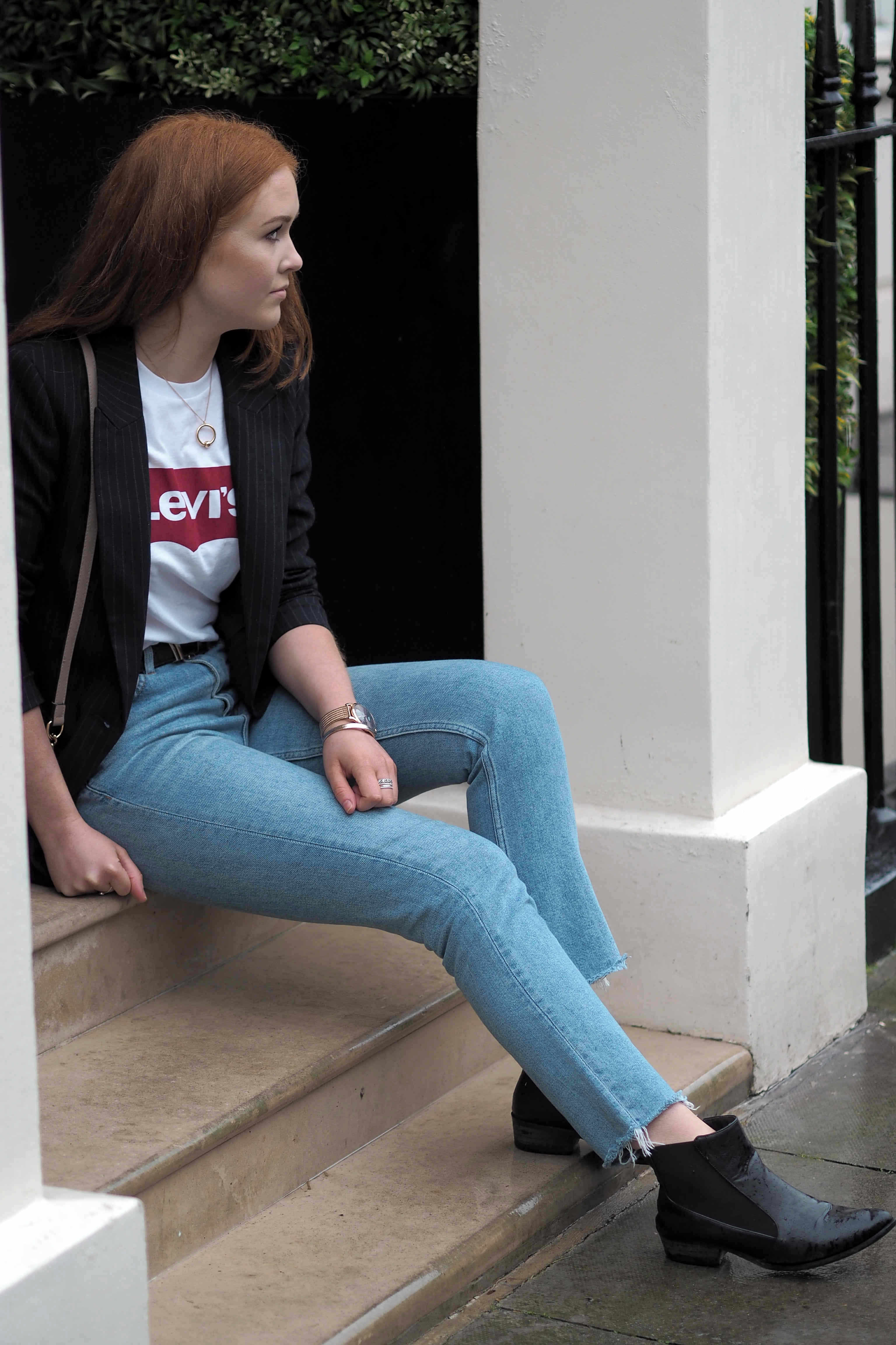 Levis vintage tee pinstripe H&M blazer, topshop straight frayed hem jeans and ASOS pointed chelsea boots