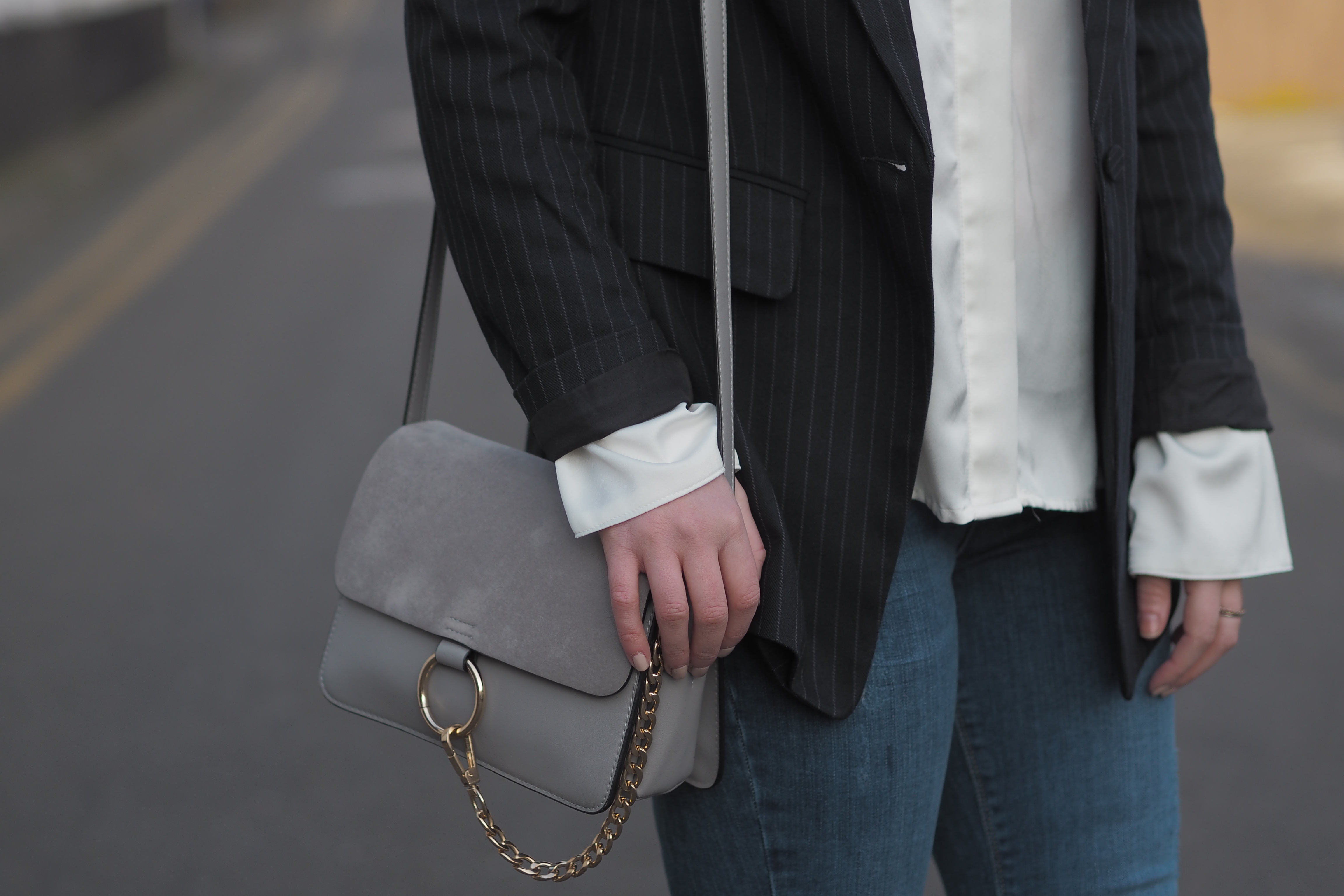 H&M pinstripe blazer satin white blouse Zara and River Island blue jeans and Mango stiletto heels