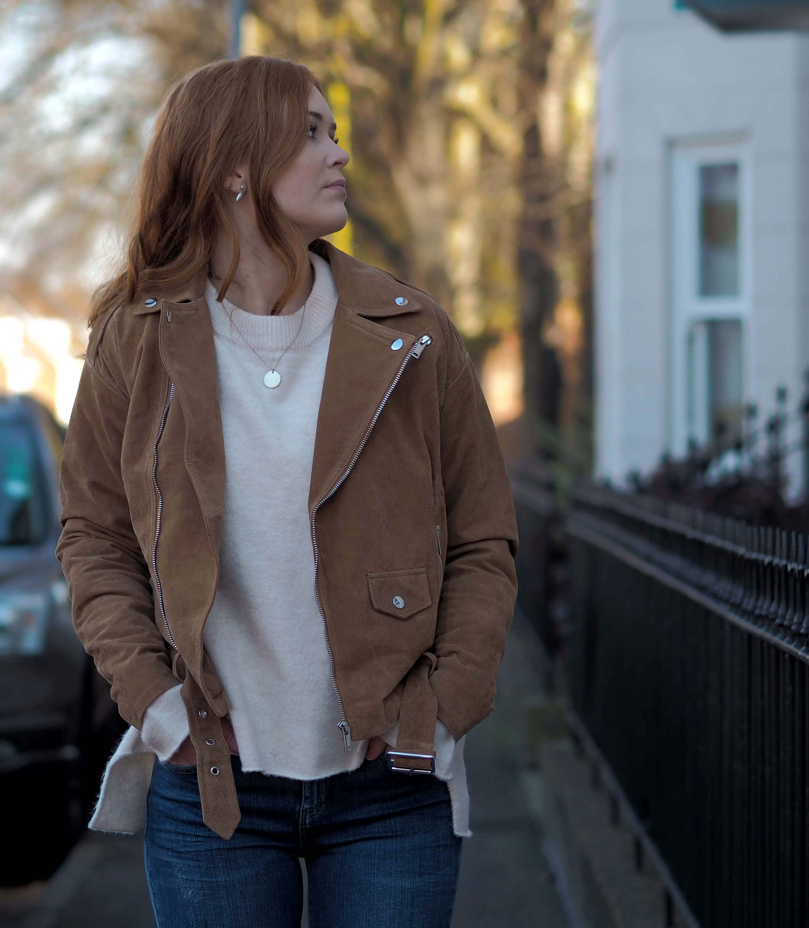 tan suede jacket ASOS Zara tie sleeve jumper River Island blue jeans stradivarius cream boots outfit inspiration
