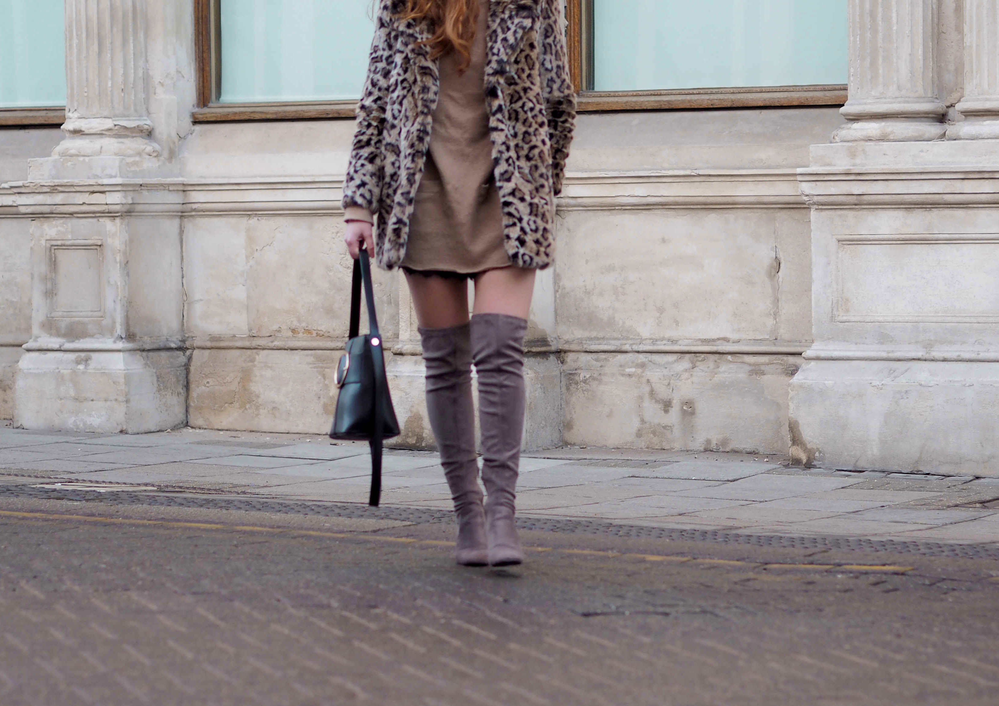mango leopard print coat, over the knee otk river island boots, Zara camel tunic womens fashion inspiration