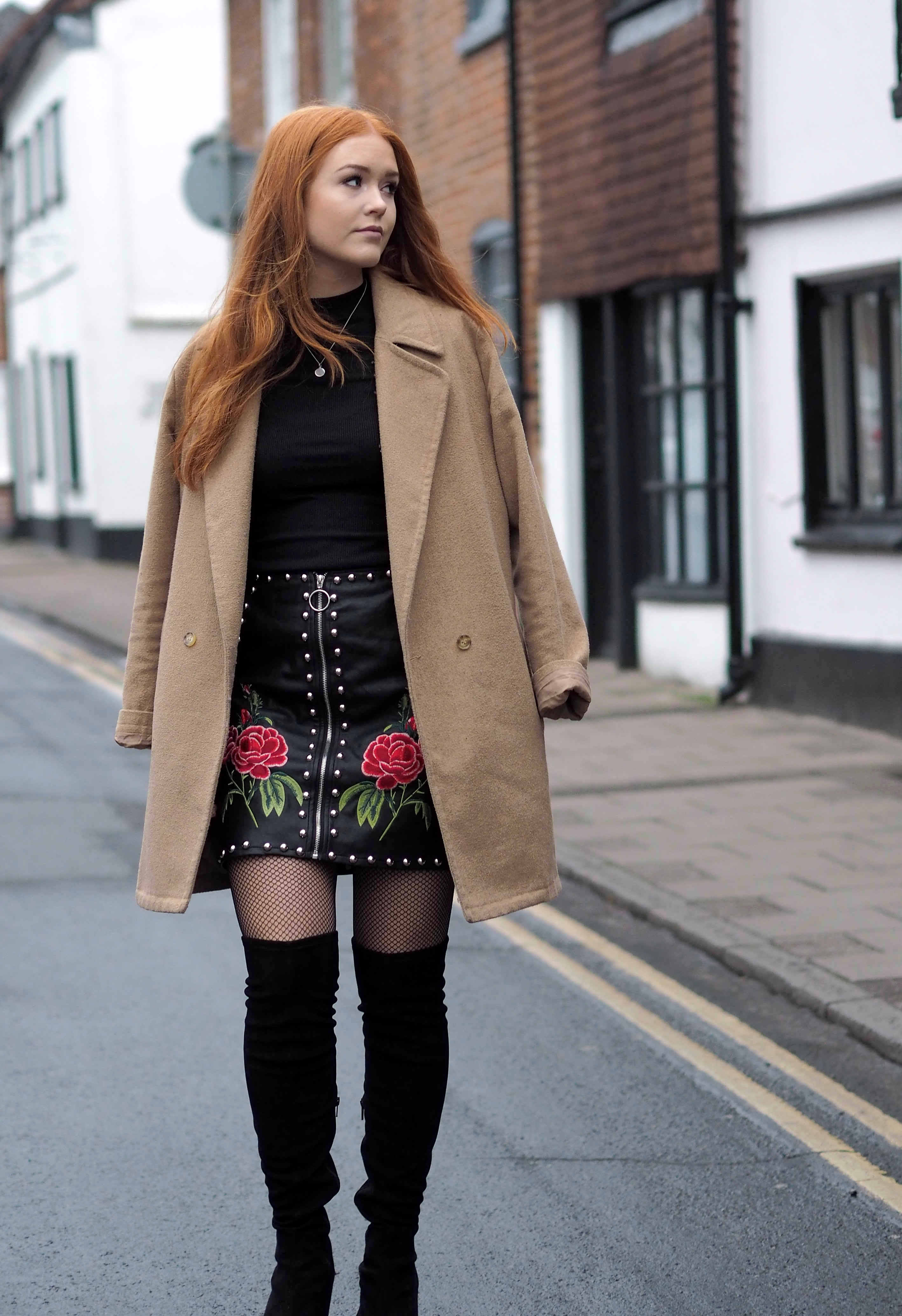 TRENDING: Embroidery. Missguided embroidered faux leather skirt Topshop Over the knee suede boots and Pretty Little Thing frill shoulder top.