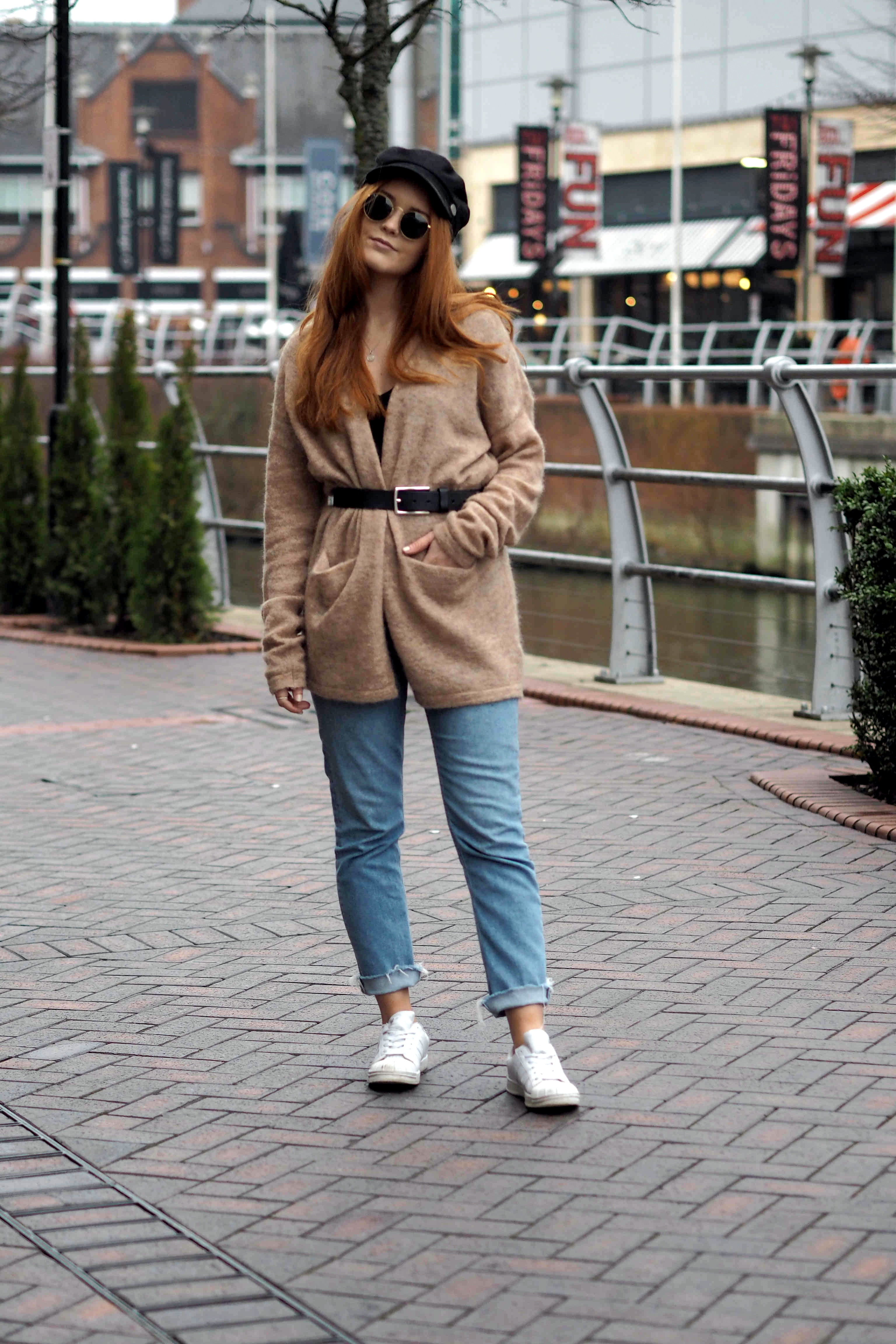Casual spring outfit inspiration featuring nike airs, Topshop ripped hem mum jeans, H&M mohair belted cardigan and baker boy hat ASOS
