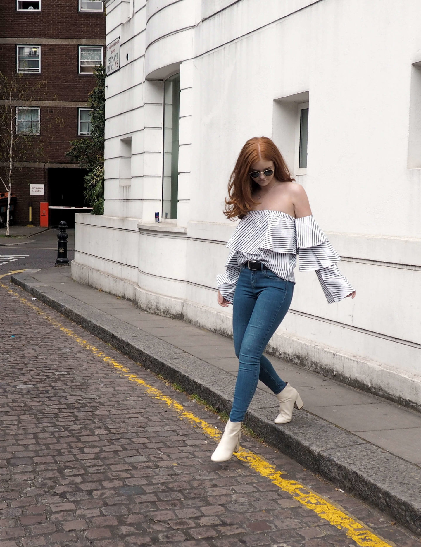 Boohoo striped off the shoulder frill top spring summer outfit inspiration