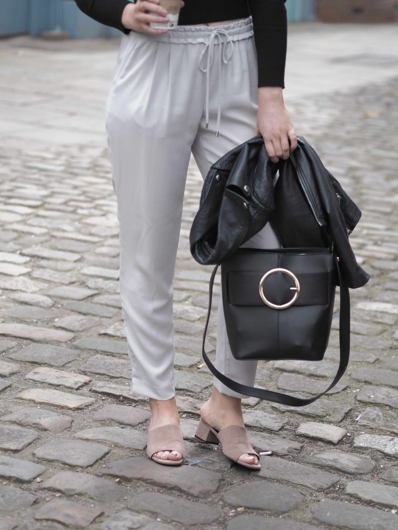 Zara dove grey trousers and New Look dusky pink mules. work-wear outfit inspiration