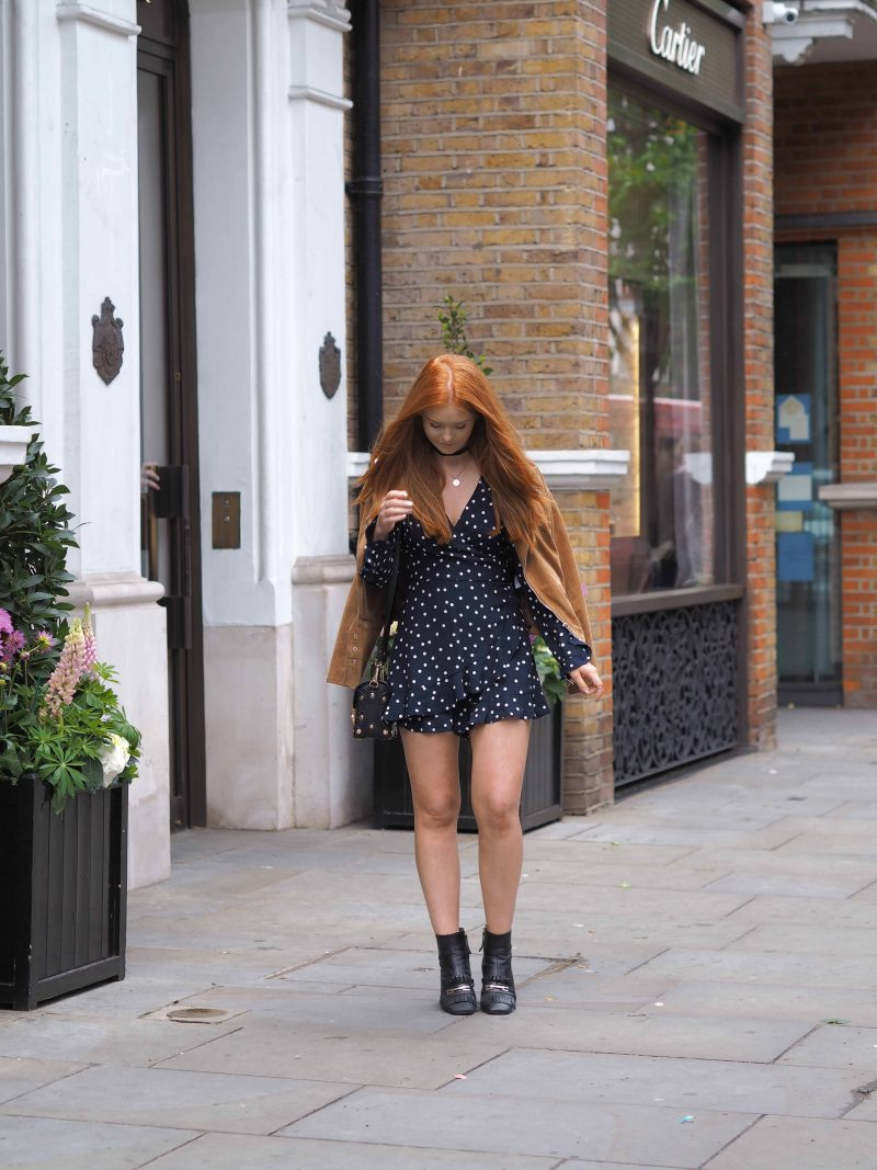Zara Polka dot frilled playsuit. Summer first date outfit guide