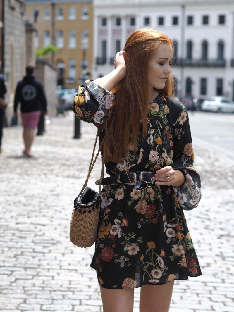 Floral summer H&M dress and Zara basket bag