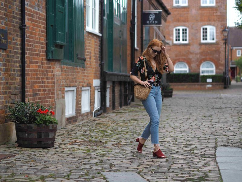 Topshop floral ruched crop top with straight leg jeans and Zara burgundy mules