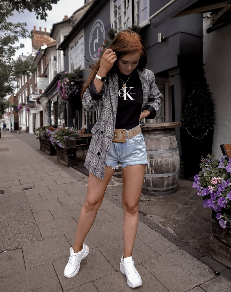 Styling the best basics - Levis shorts and a Calvin Klein tee with a Mango Belt and trainers